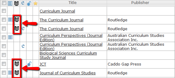 Screenshot of Ulrich's International Periodicals Directory highlighting referees jersey as icon denoting peer-reviewed souce