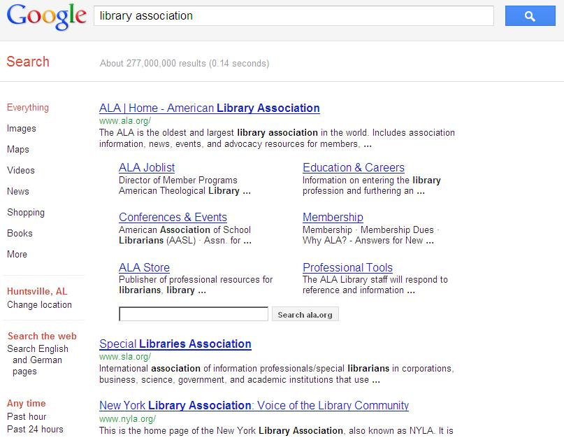 Sample search: Finding a professional association