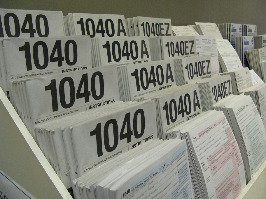 Paper tax forms at Huntsville Public Library