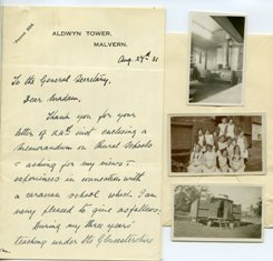 Image of a letter from NUWT member to the General Secretary of the NUWT discussing rural caravan schools, 1931