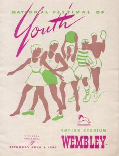 Image of a brochure for a National Festival of Youth held at Wembley Stadium, 1946