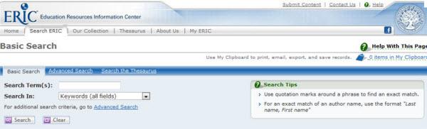 Screenshot of the ERIC database