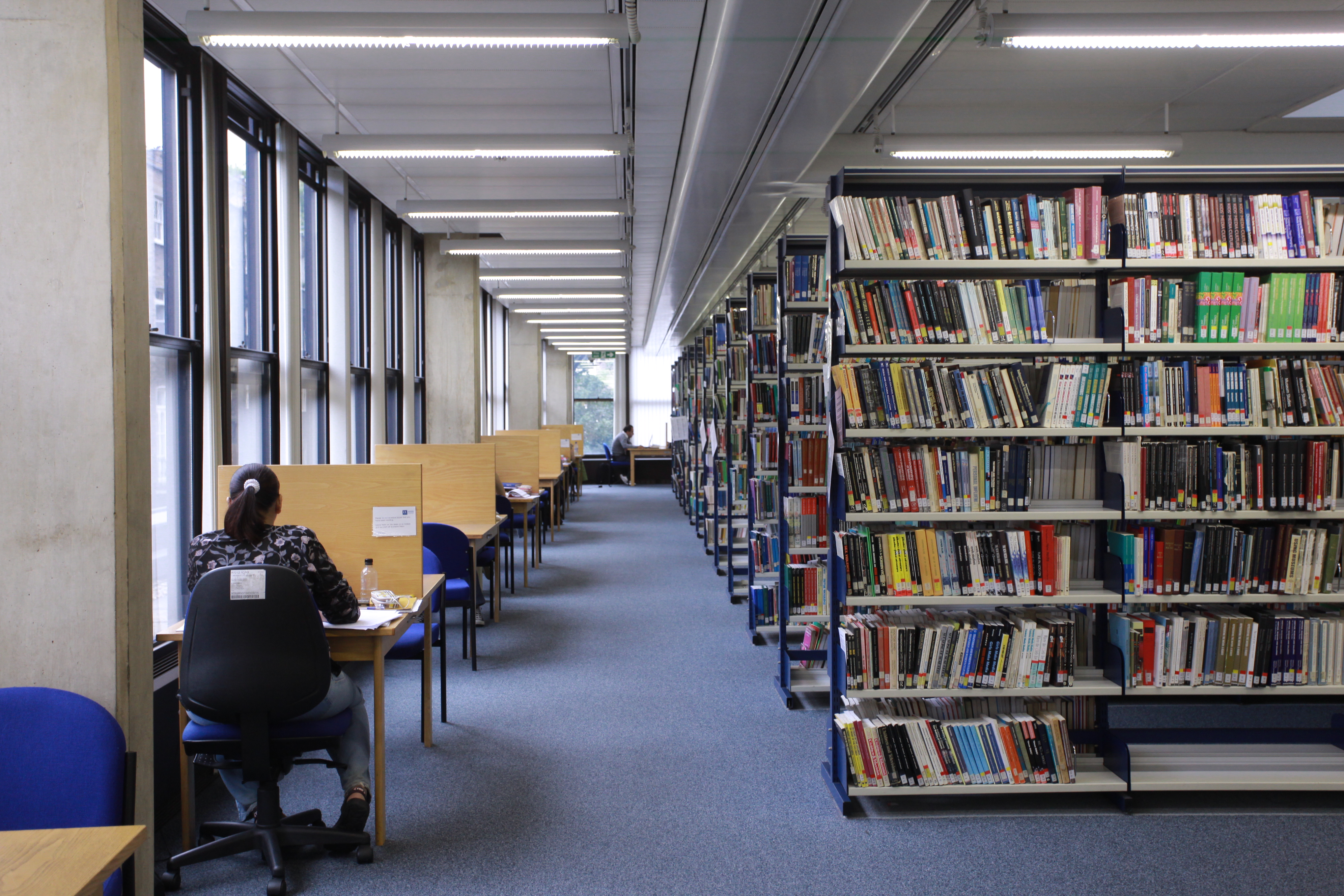 picture of student working on level 5 of the Library