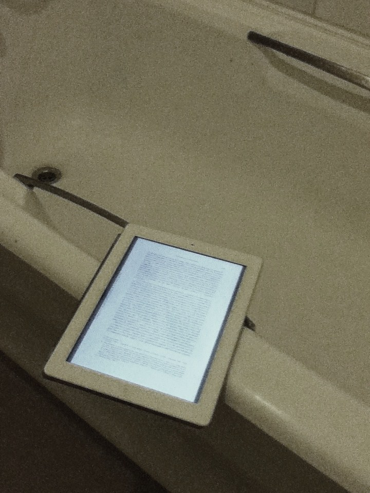 picture of e reader in a bathroom