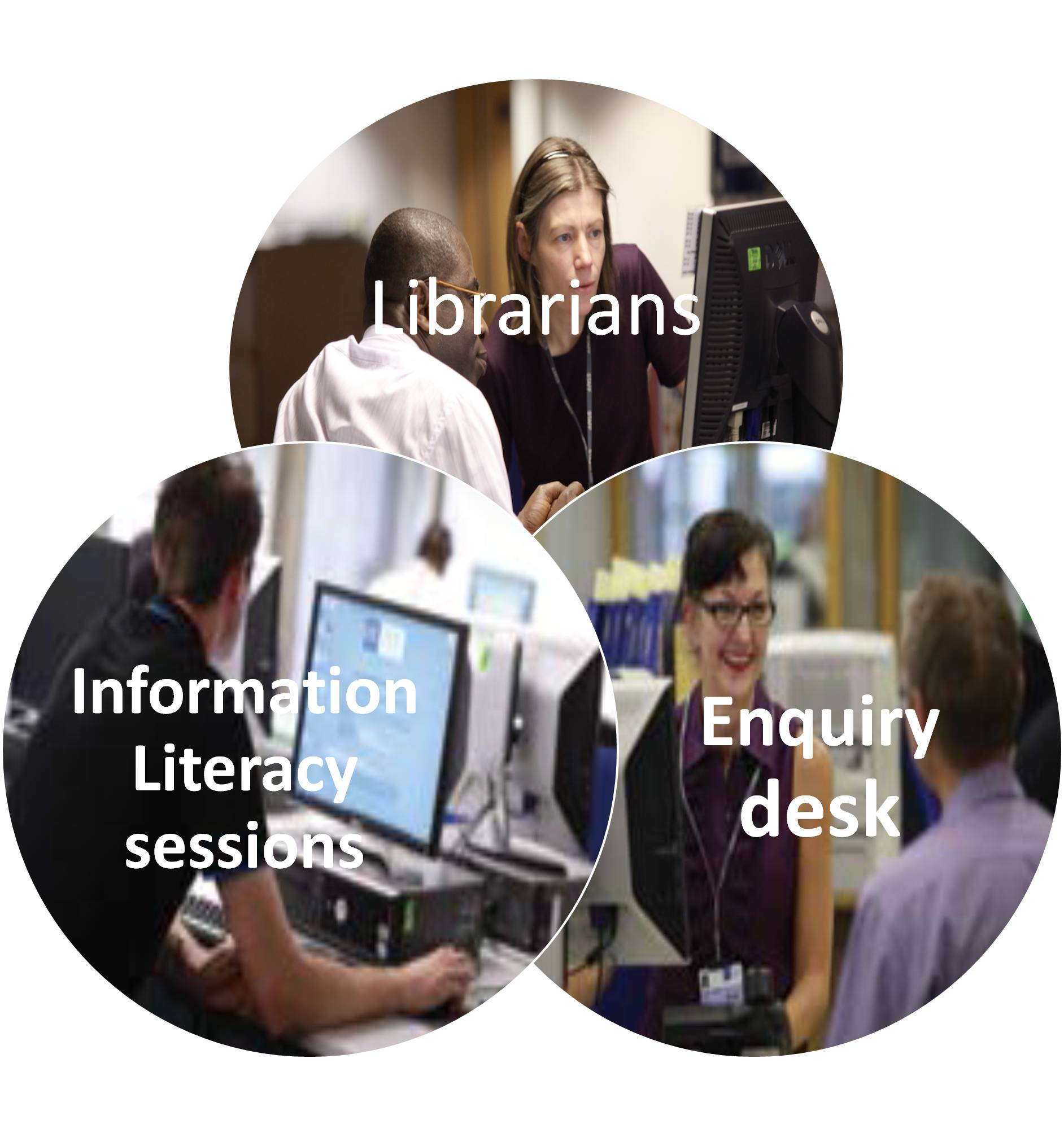 Graphic representing Librarians, Enquiry Desk and Information Literacy