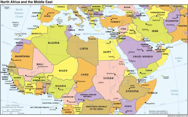 Map of North Africa and the Middle East
