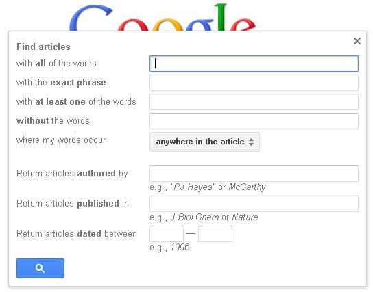 Google Advanced Search options box