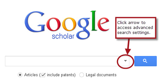 Click the down arrow on the Google Scholar search box to access the advanced search options