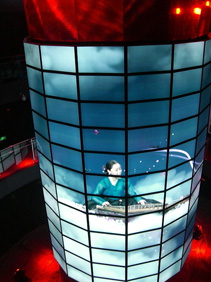 Cylindrical screen at the South Korea Corporate pavilion