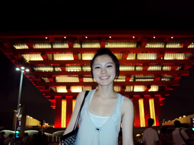 GW student in front of the China Pavilion.
