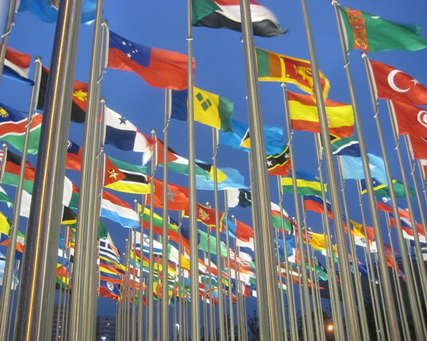 Multiple national flags flying at Expo 2010.