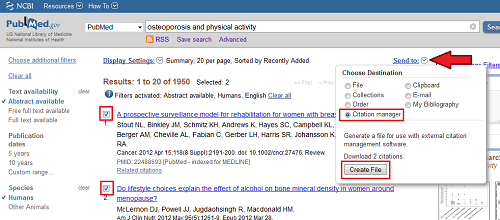 PubMed &quot;Send To&quot; Screen