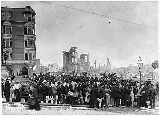 Bread line in the wake of the San Francisco earthquake of 1906.