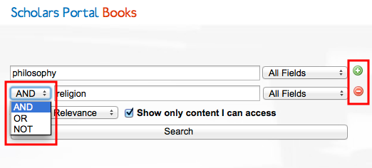 Screenshot demonstrating how to add boolean search operators