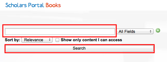 Screenshot demonstrating an empty search, to list all books in the collection
