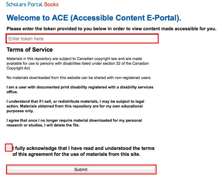 Screenshot of ACE Portal login page