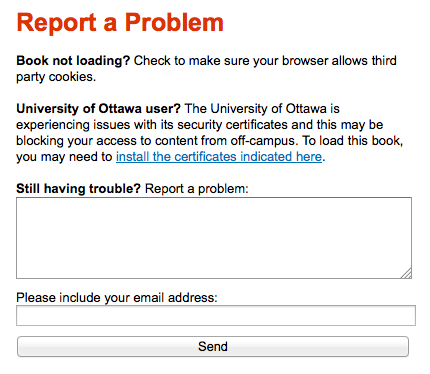 Screenshot displaying the report a problem form embedded in the ACE Portal