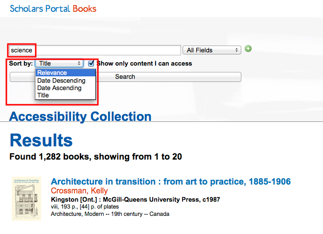 Screenshot of ACE Portal demonstrating how to resort search results