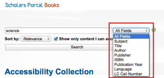 Screenshot showing the drop-down menu listing specific search fields