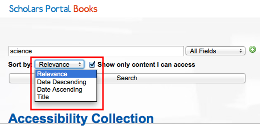 Screenshot showing the drop-down menu options available for sorting search results