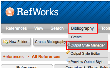 Screenshot of Bibliography menu