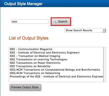Screenshot of Output Style Manager