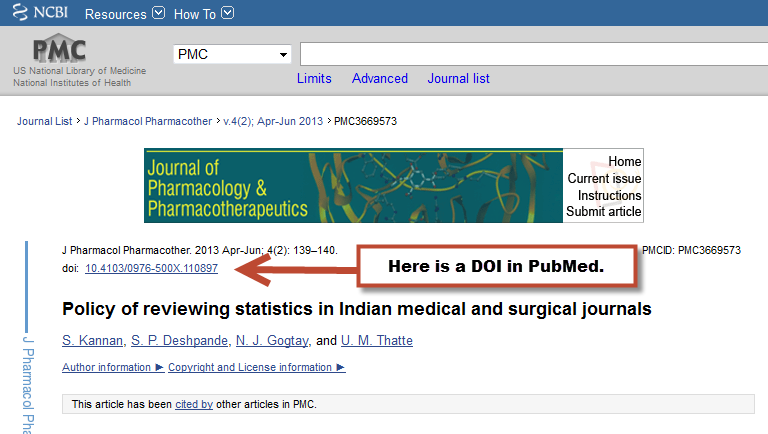showing where the DOI appears in a PubMed article
