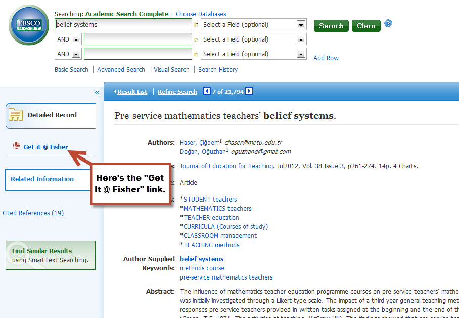 Get It @ Fisher displayed alongside a single record in Academic Search Complete