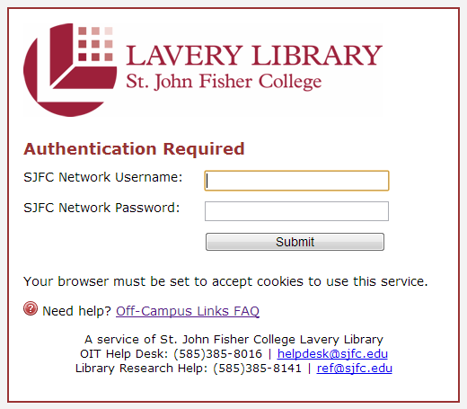 Off-Campus Link Login Example