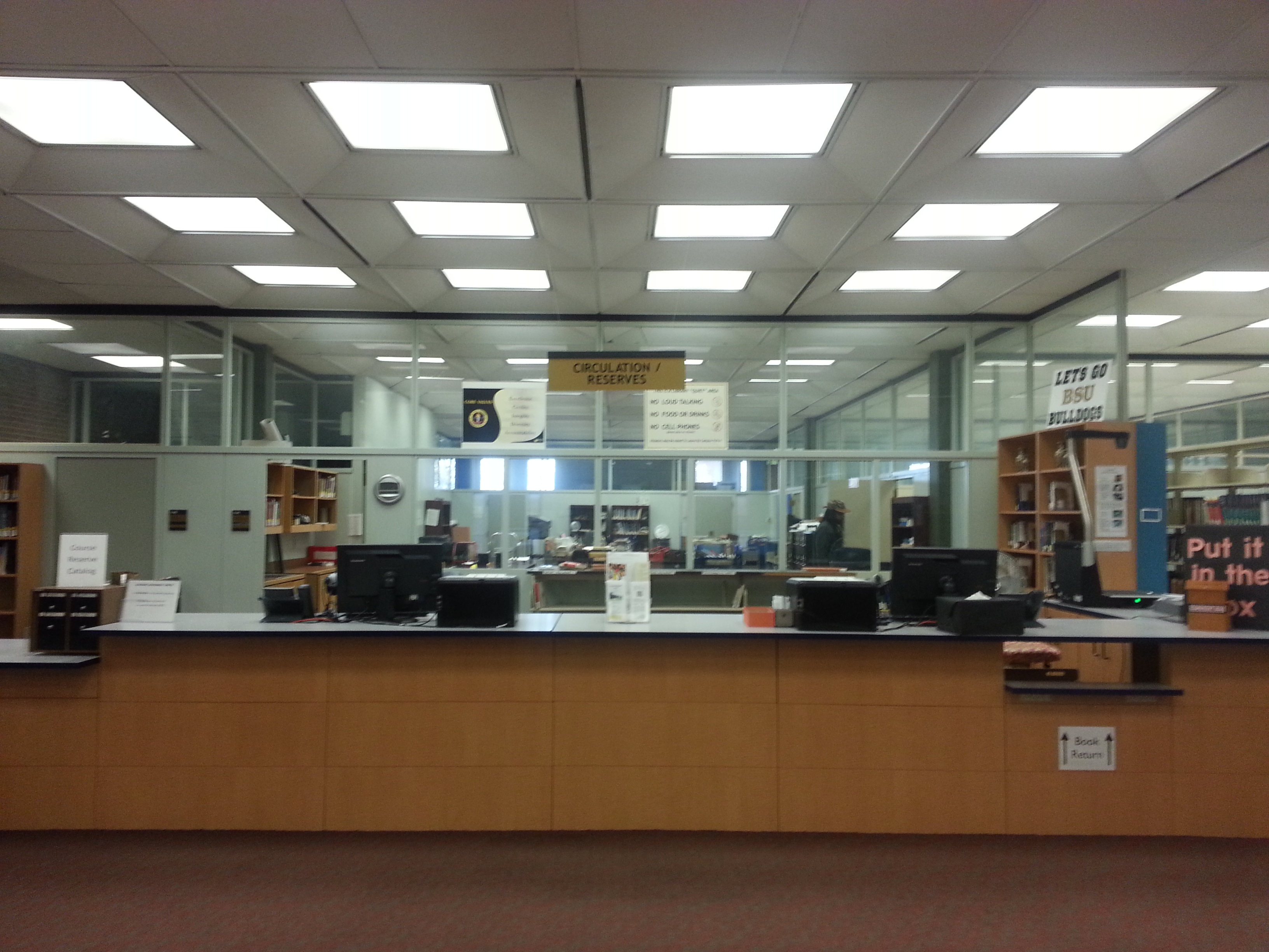 Image of the circulation desk in the Thurgood Marshall Library