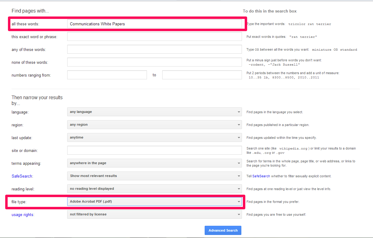 """screenshot of google advanced search for """"Communications White Papers"""" and PDF as file type"""