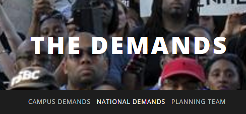 screenshot of The Demands website