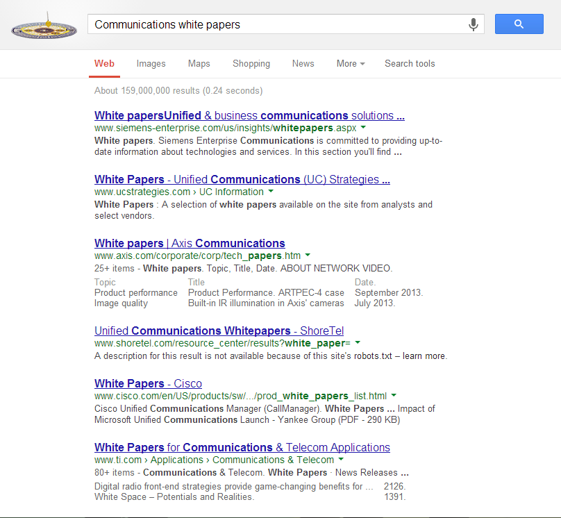 """screenshot of google search for """"communications white papers"""""""
