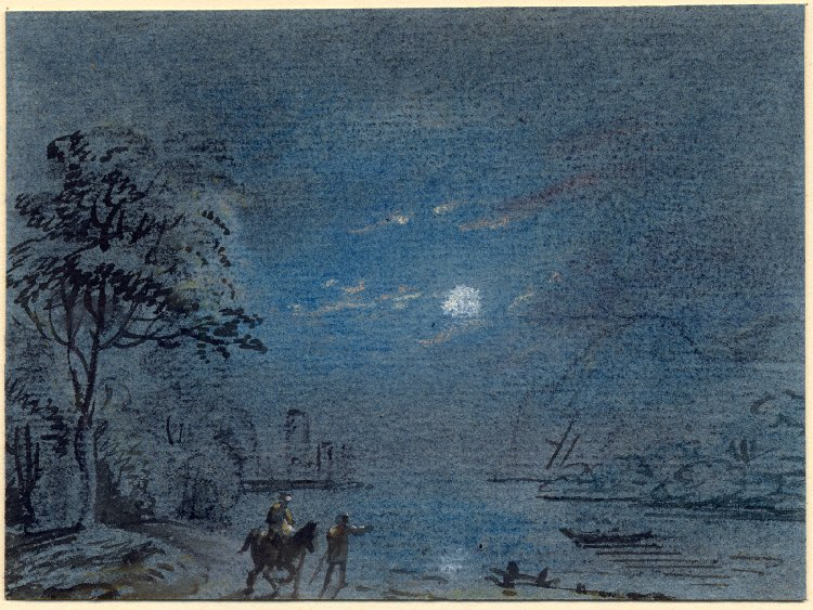 Drawing: travelers by moonlight