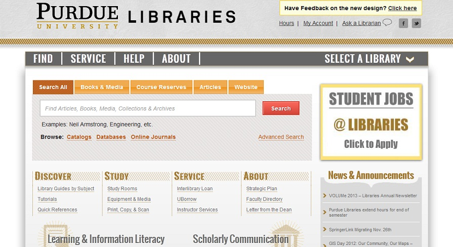 Purdue Libraries webpage
