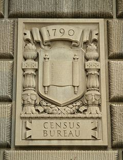 "Limestone Relief Panel that says ""1790"" and ""Census Bureau."""