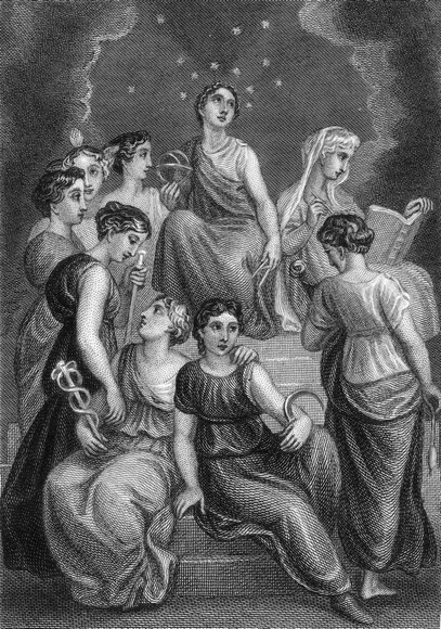 The Nine Muses of Greek mythology, who preside over the arts and sciences. They are Calliope (epic poetry), Euterpe (music), Clio (history), Erato (lyrics/love poetry), Melpomene (tragedy), Polyhymnia (sacred poetry), Terpsichore (dancing), Thalia (comedy) and Urania (astronomy, hence her position at the top, surrounded by stars). One of them holds a caduceus, a staff entwined with snakes. Engraved by T. S. Engleheart in 1825 after a painting by Thomas Stothard. (Photo by Hulton Archive/Getty Images)