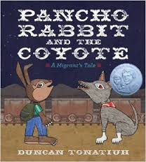 Illustrated rabbit and coyote facing each other in front of railroad tracks