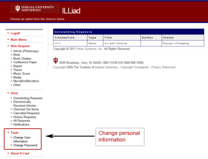 ILLiad Main Menu Personal Info 1