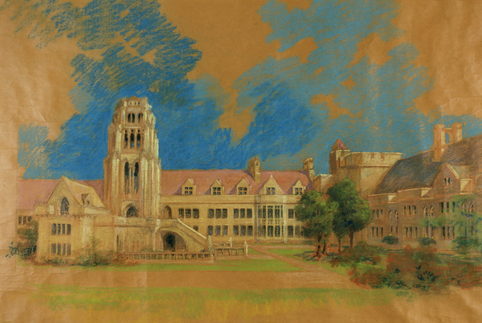 Maybeck & White, College Court with Library Tower, 1923, Pastel, graphite on kraft paper, 40 x 57 in.