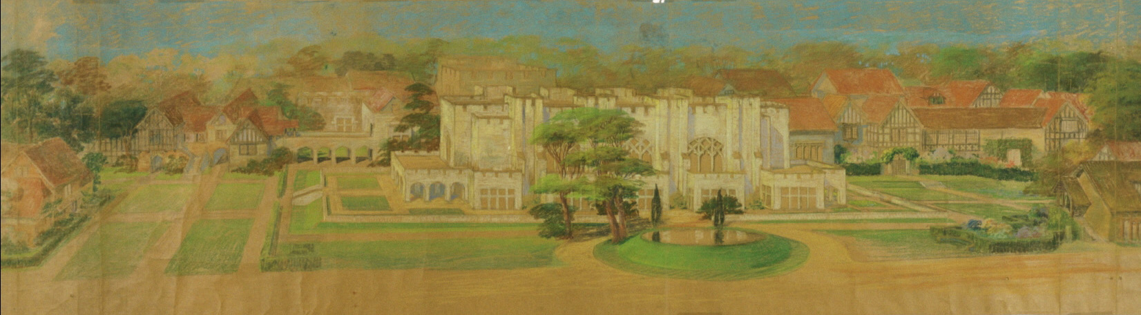 Maybeck & White, Loch Lin Site, Court with Great Hall surrounded by half-timbered cottages, 1923, Pastel, graphite on kraft paper, 29 x 106 in.
