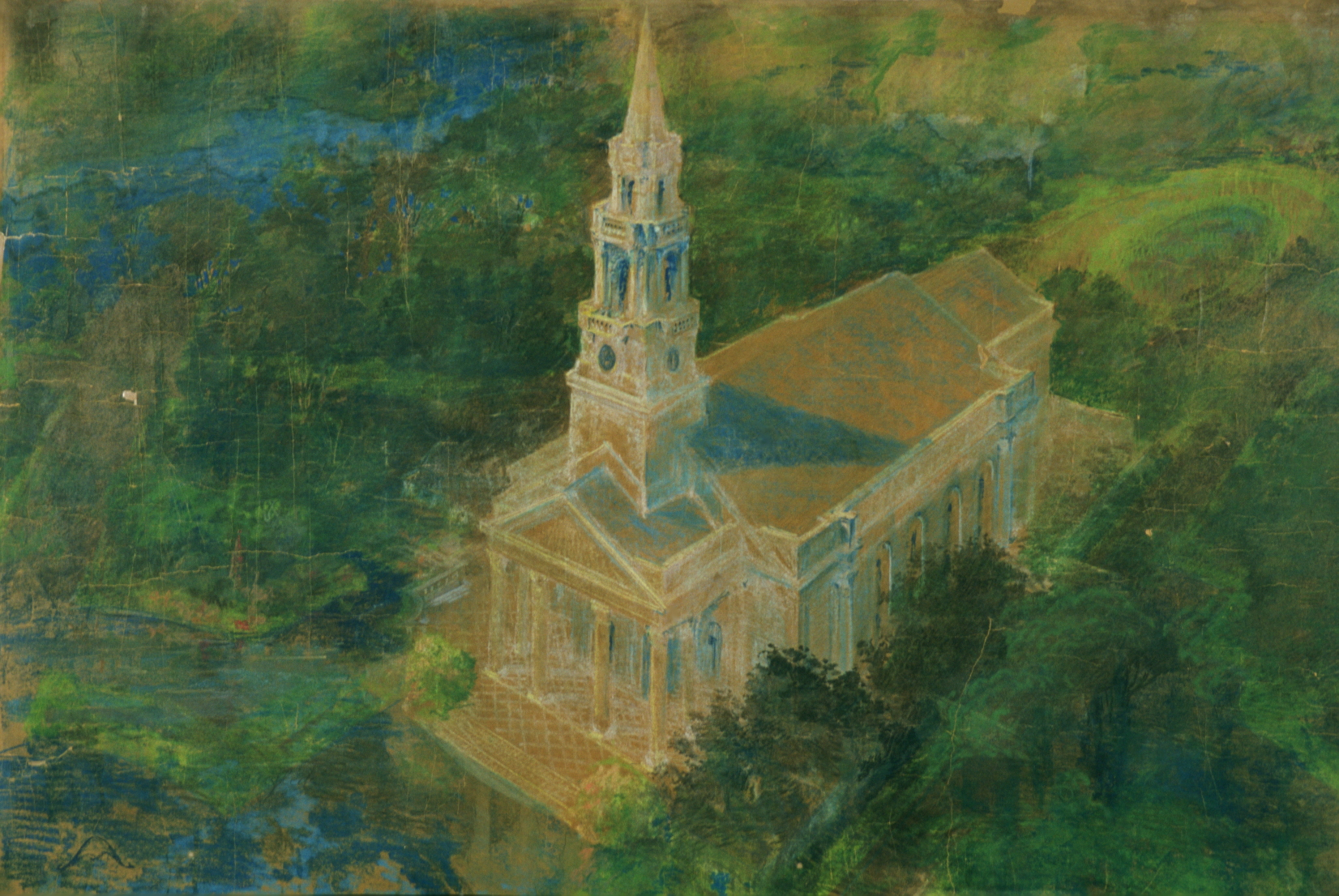 Maybeck & White, Loch Lin Site, Chapel and Open-Air Theatre, 1926, Pastel, graphite on kraft paper, 42 x 73 in.