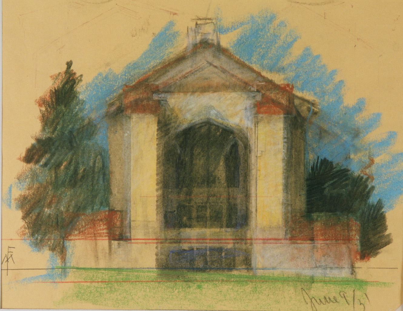 Maybeck & White, Great Hall, Fireplace End, 1939, Pastel, graphite on cream paper, 20 x 15 in.