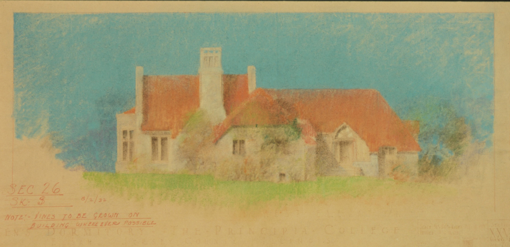 Maybeck & White Collection, Buck House (West elevation) Vine Plantings, 1932, Pastel over red print, 16 x 32 in.