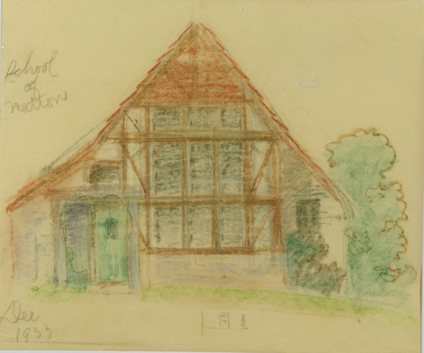 Maybeck & White, School of Nations Cottage, 1933, Pastel on tissue, 21 x 25 in.