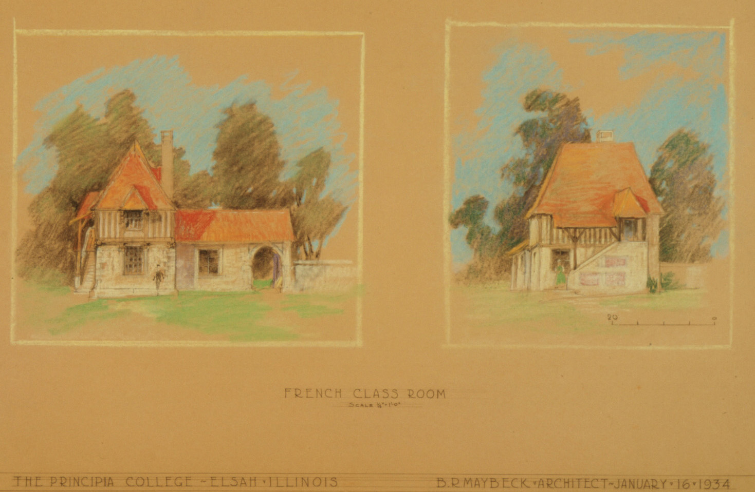Maybeck & White, French Classroom Cottage, Two Perspectives, 1934, Pastel, graphite on kraft paper, 27 x 39 in.