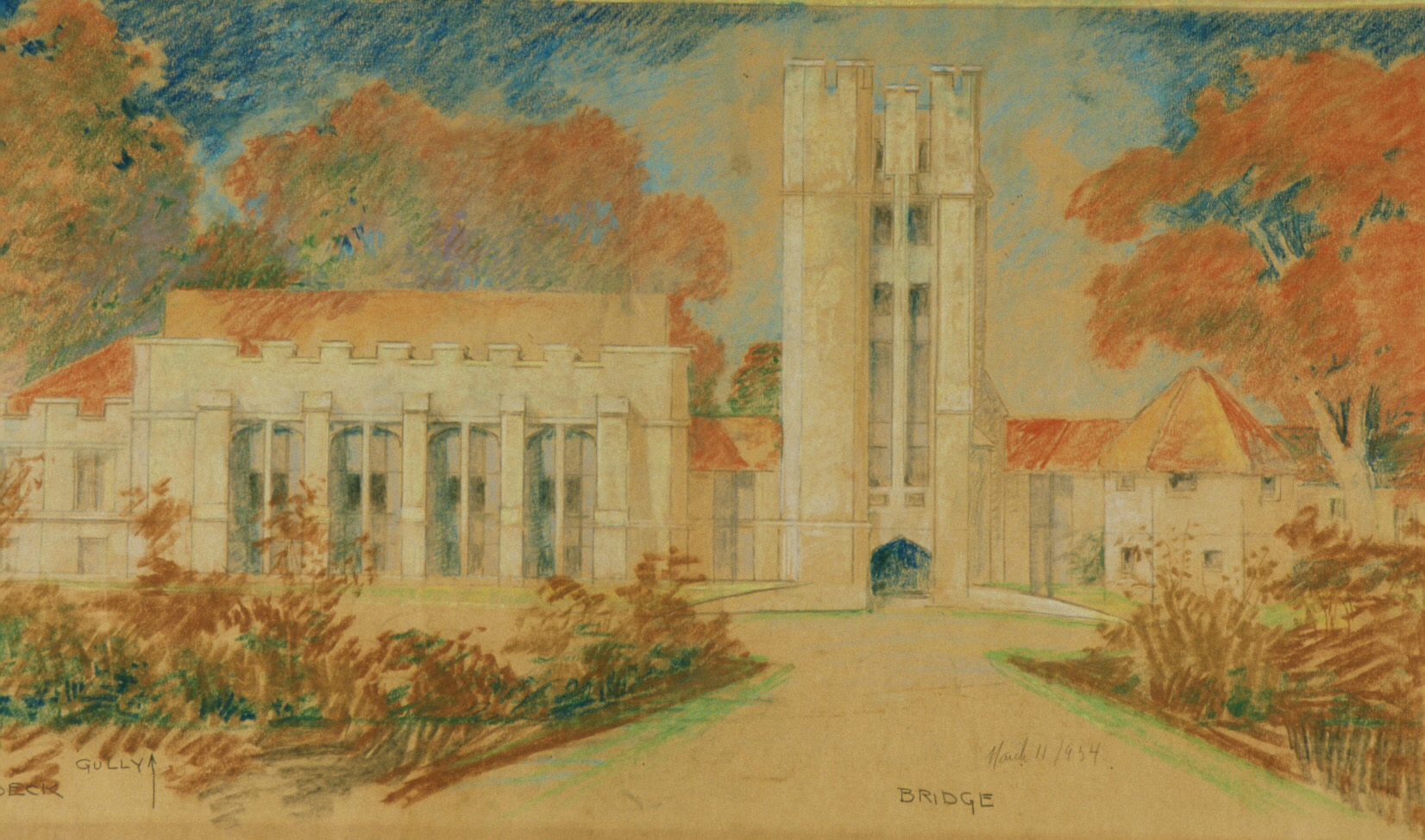 Library and School of Nations: Bridge, 1934, Pastel, graphite on cream paper, 19 x 32 in.