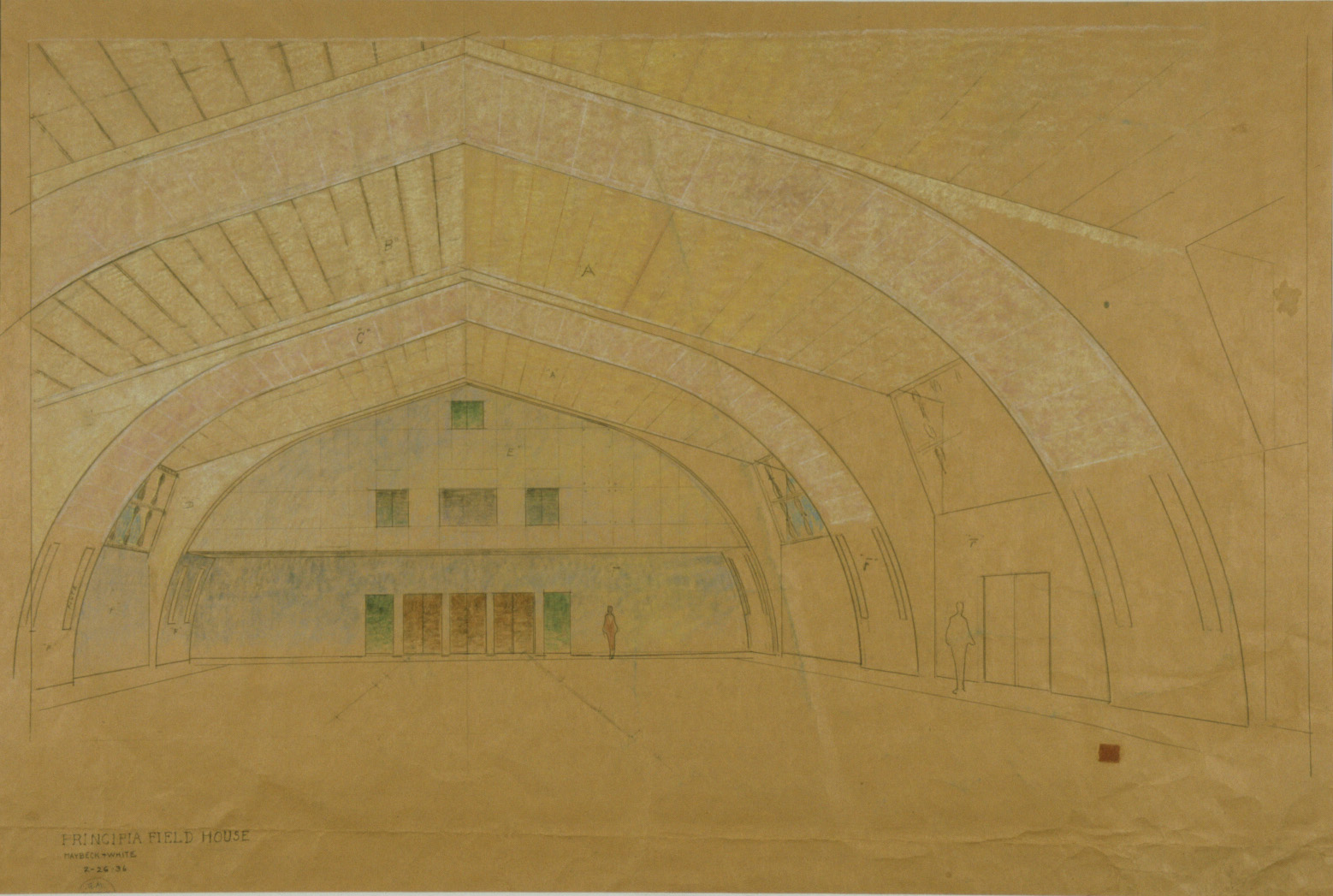 Field House, 1936, Pastel, graphite on kraft paper, 33 x 46 in.