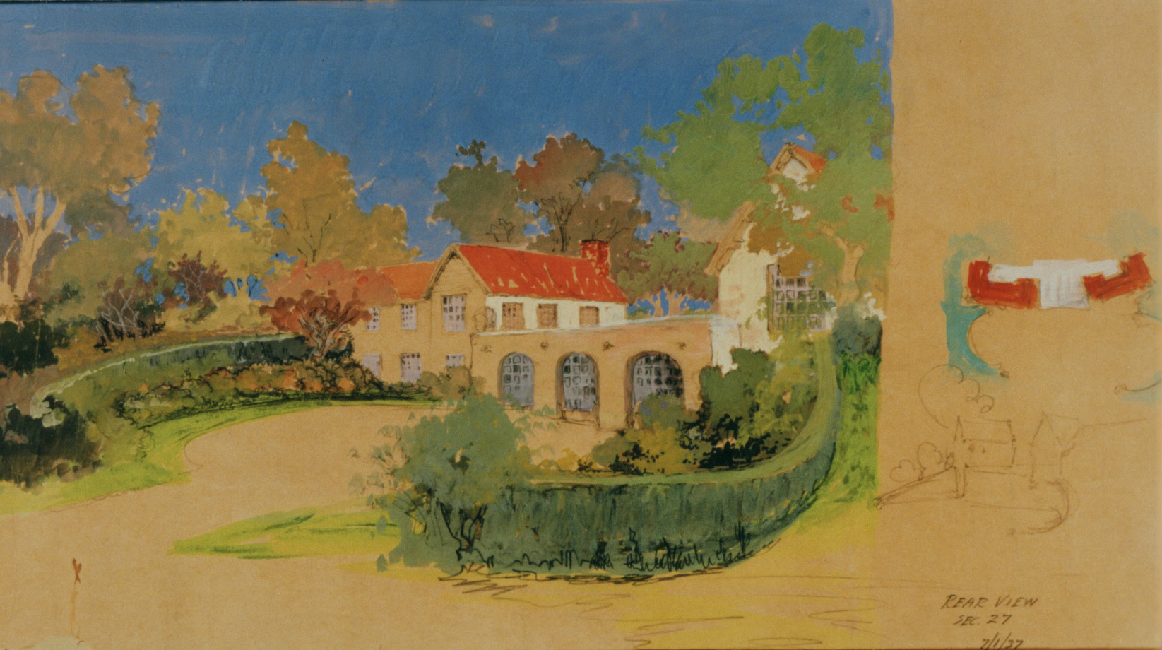 Maybeck & White, Brooks House, View of Rear Entry, 1 Jul1937, Gouache, graphite on kraft paper, 16 x 27 in.