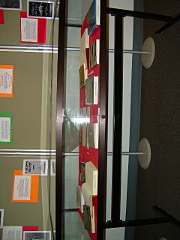 Broad front view of the display case.